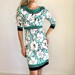 NY&Co Stretchy Floral Teal Black & White Dress XS